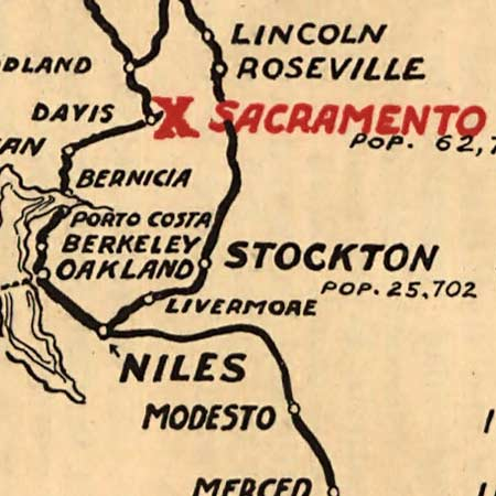 Map of west coast roads (1915) image detail