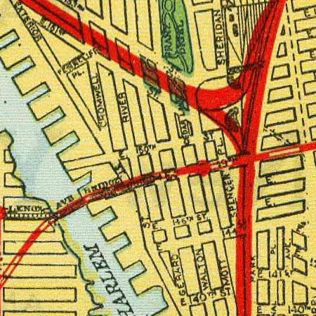 Map of NYC railroads (1918) image detail