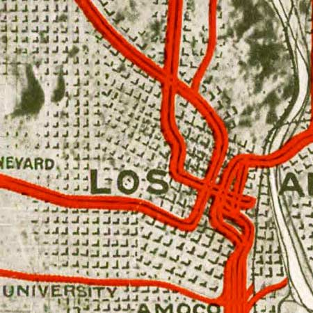 Pacific Electric map of Los Angeles (1920) image detail