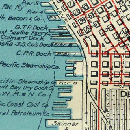Rand McNally's street map of Seattle (1924) image detail