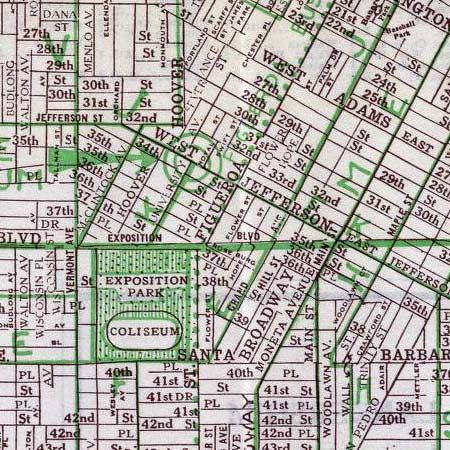 Hill's street map of Los Angeles (1928) image detail