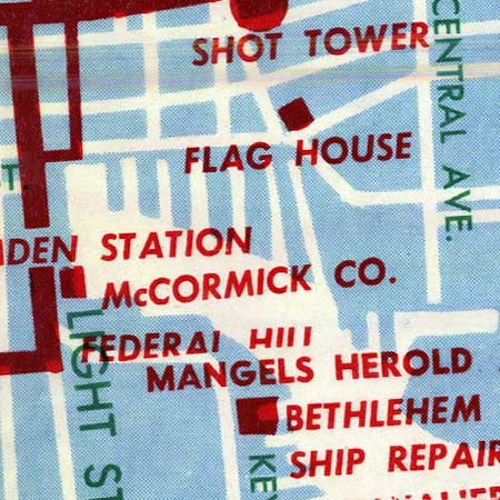 Convention Bureau map of Baltimore (1957) image detail