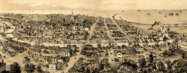 Moody's birdseye map of Milwaukee (1854) wide thumbnail image