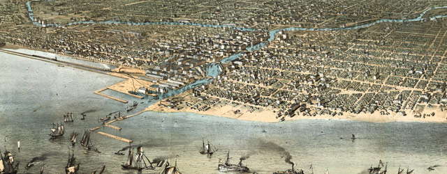 Ruger's birdseye map of Chicago (1868) wide thumbnail image