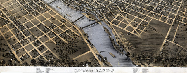 Ruger's map of Grand Rapids (1868) wide thumbnail image