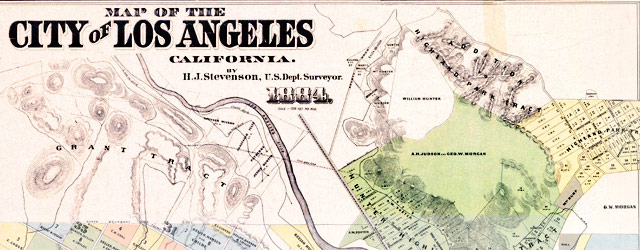 Stevenson's survey of Los Angeles (1884) wide thumbnail image