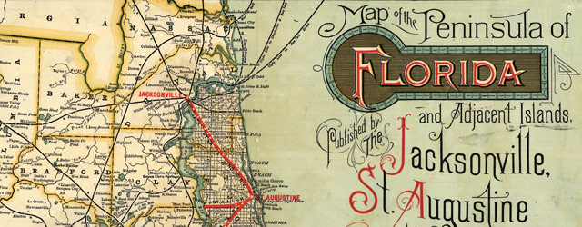 Railroad map of Florida (1893) wide thumbnail image