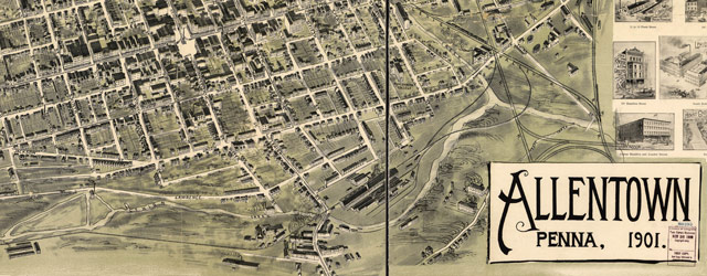 Birdseye map of Allentown, Pennsylvania (1900) wide thumbnail image