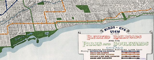 Elevated railroads in Chicago (1908) wide thumbnail image