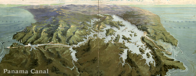 Aero view of the Panama Canal (1912) wide thumbnail image