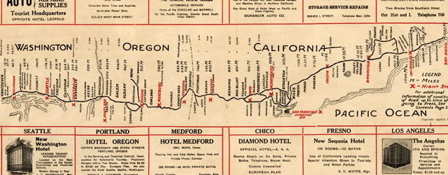 Map of west coast roads (1915) wide thumbnail image