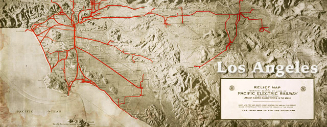 Pacific Electric map of Los Angeles (1920) wide thumbnail image