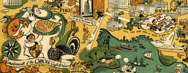 Oriole Cafeterias' Map of Baltimore (1947) wide thumbnail image