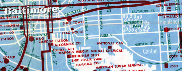 Convention Bureau map of Baltimore (1957) wide thumbnail image
