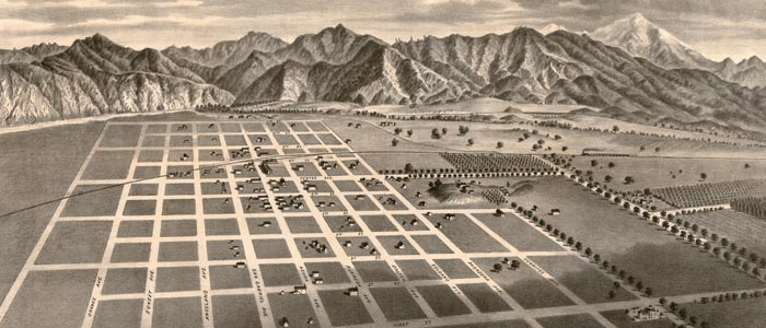 Azusa, California Birdseye Map image