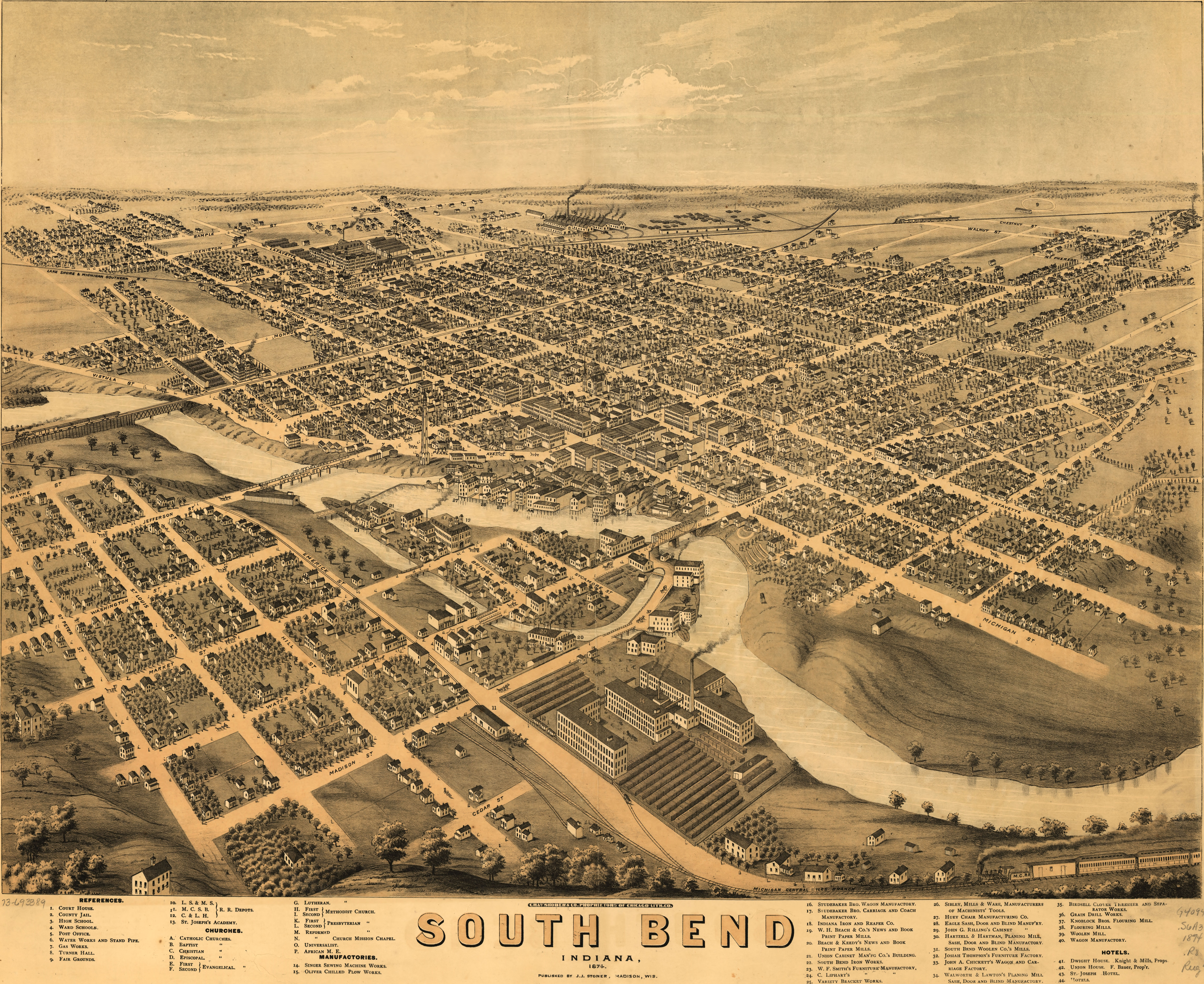 Birdseye View Of South Bend Indiana - South bend map