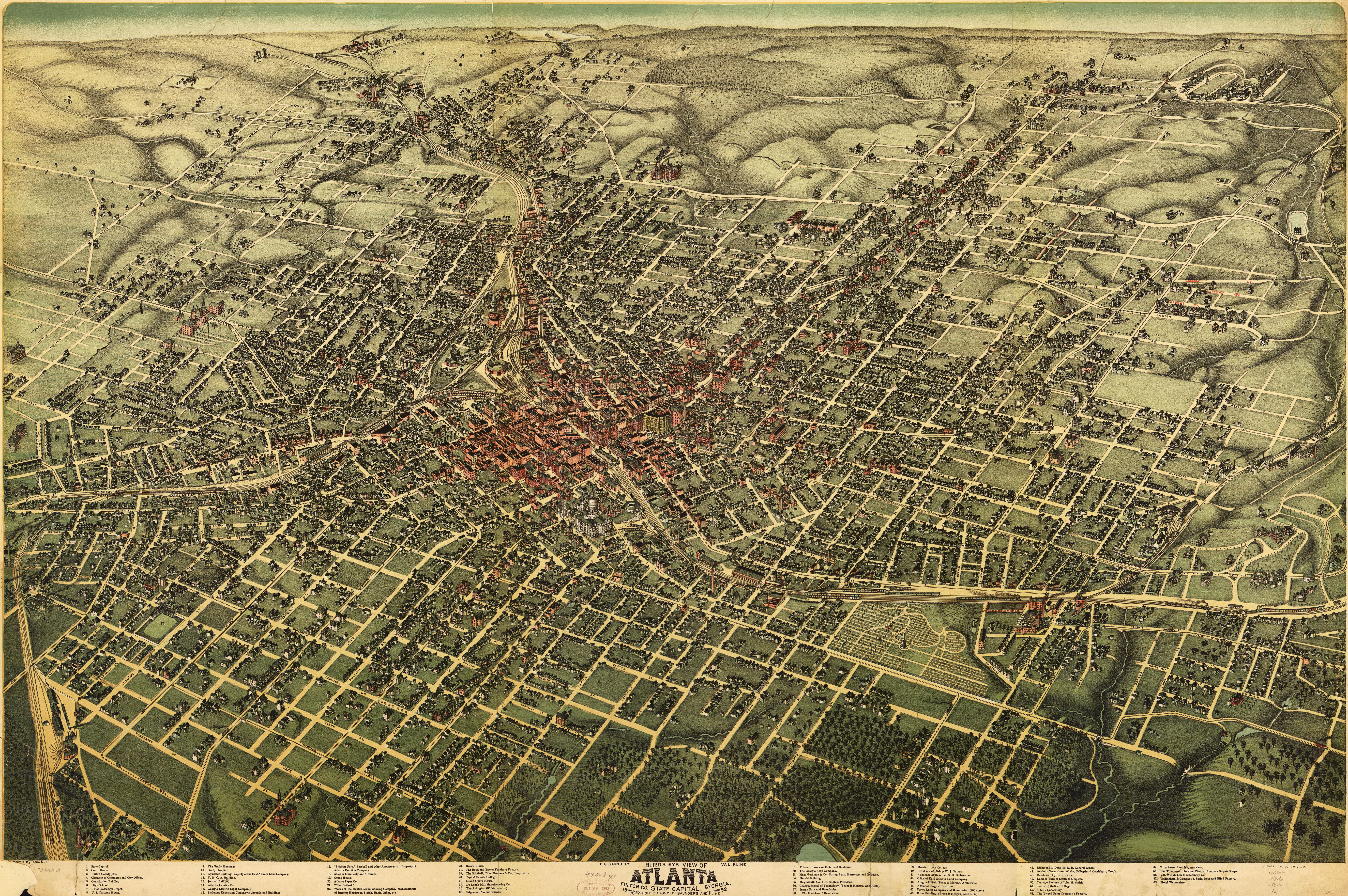 Historic maps virginia highland civic association 1892 birdseye map of atlanta gumiabroncs Choice Image