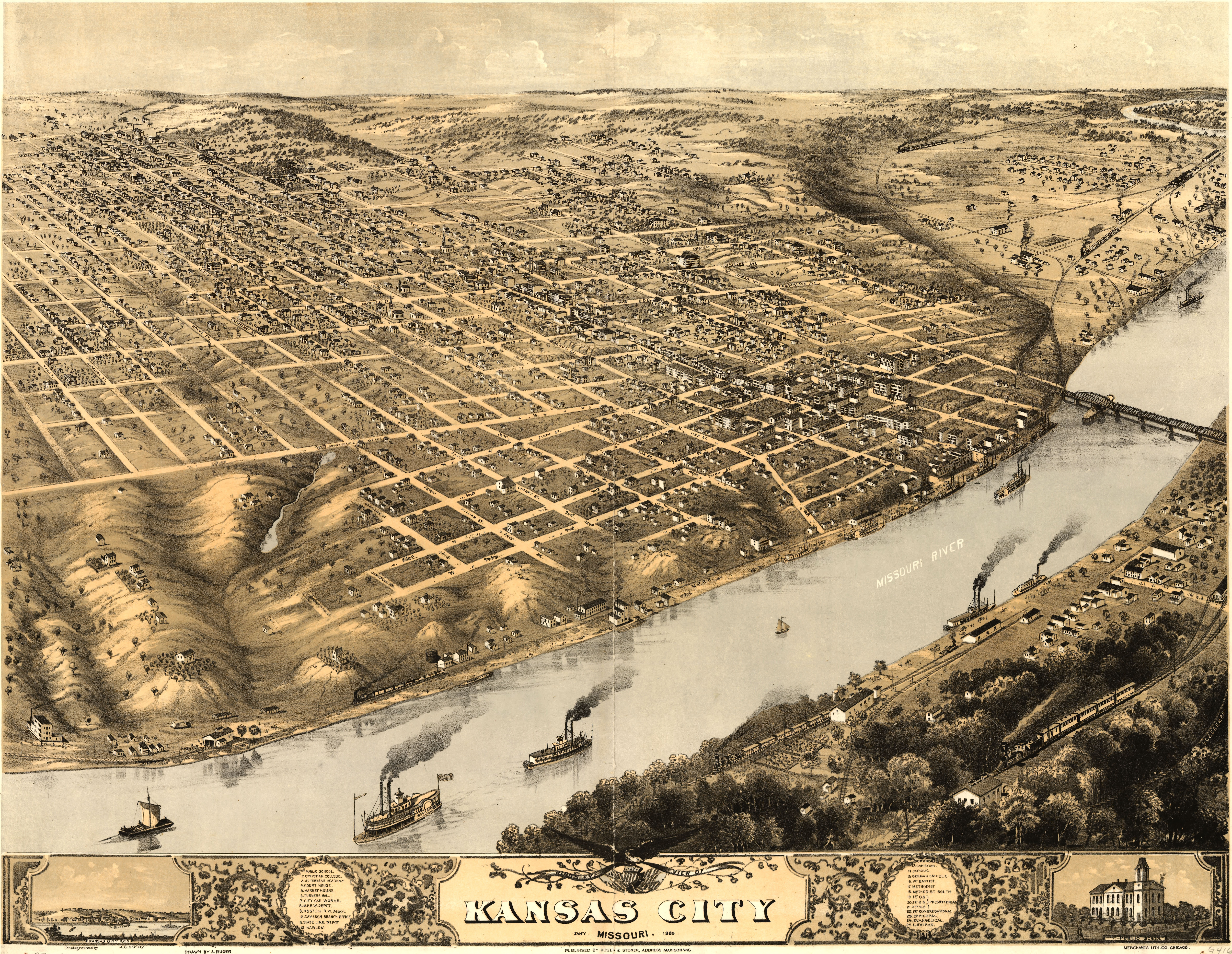 high resolution birds eye view map of kansas city in 1869 7499