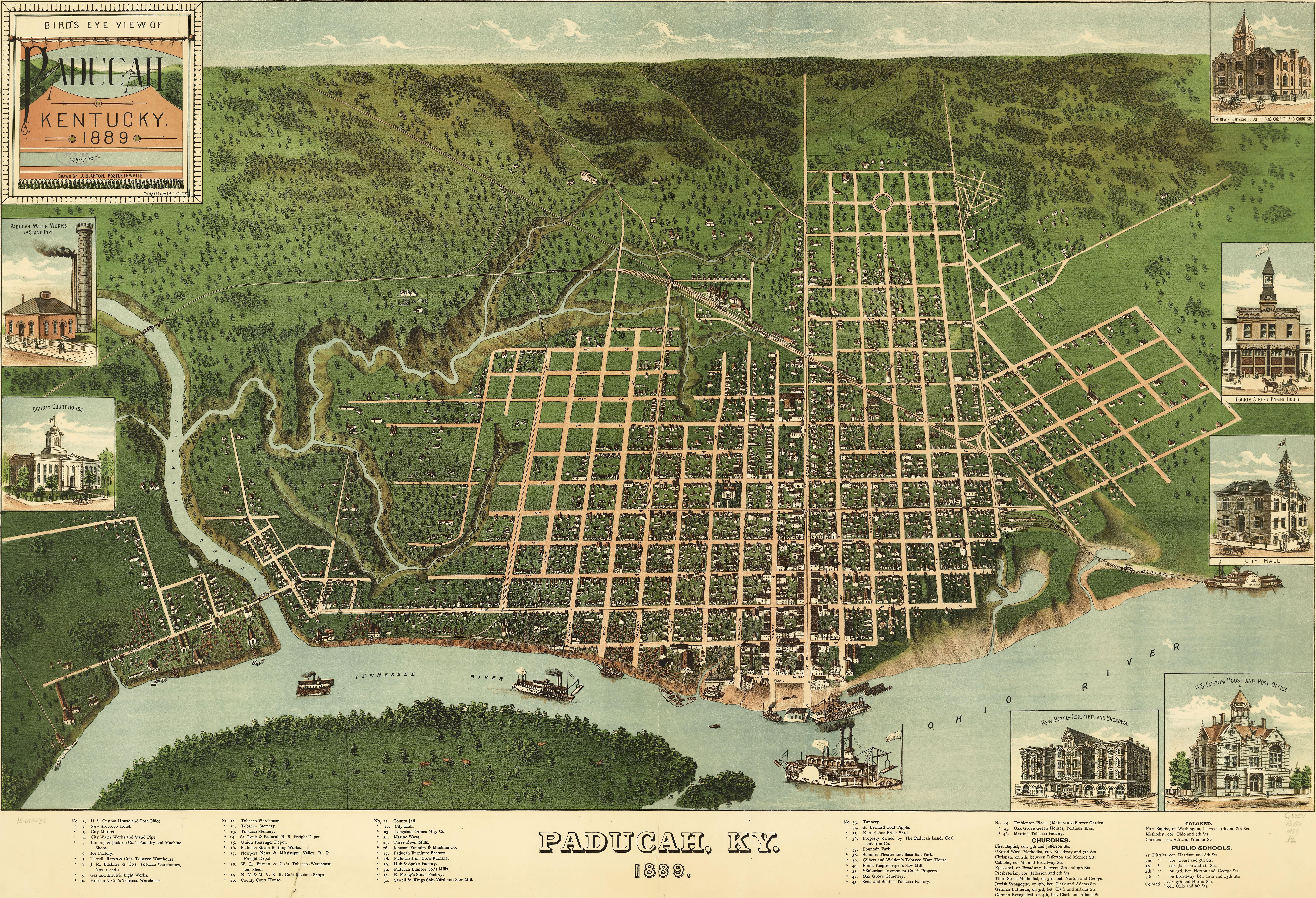 Birdseye View Of Paducah Kentucky - Paducah ky map