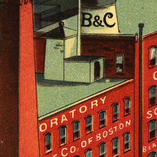 Birdseye view of Boston, compliments of Beachand Clarridge Co. of Boston image detail