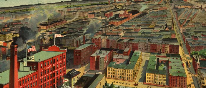 Birdseye view of Boston, compliments of Beachand Clarridge Co. of Boston image