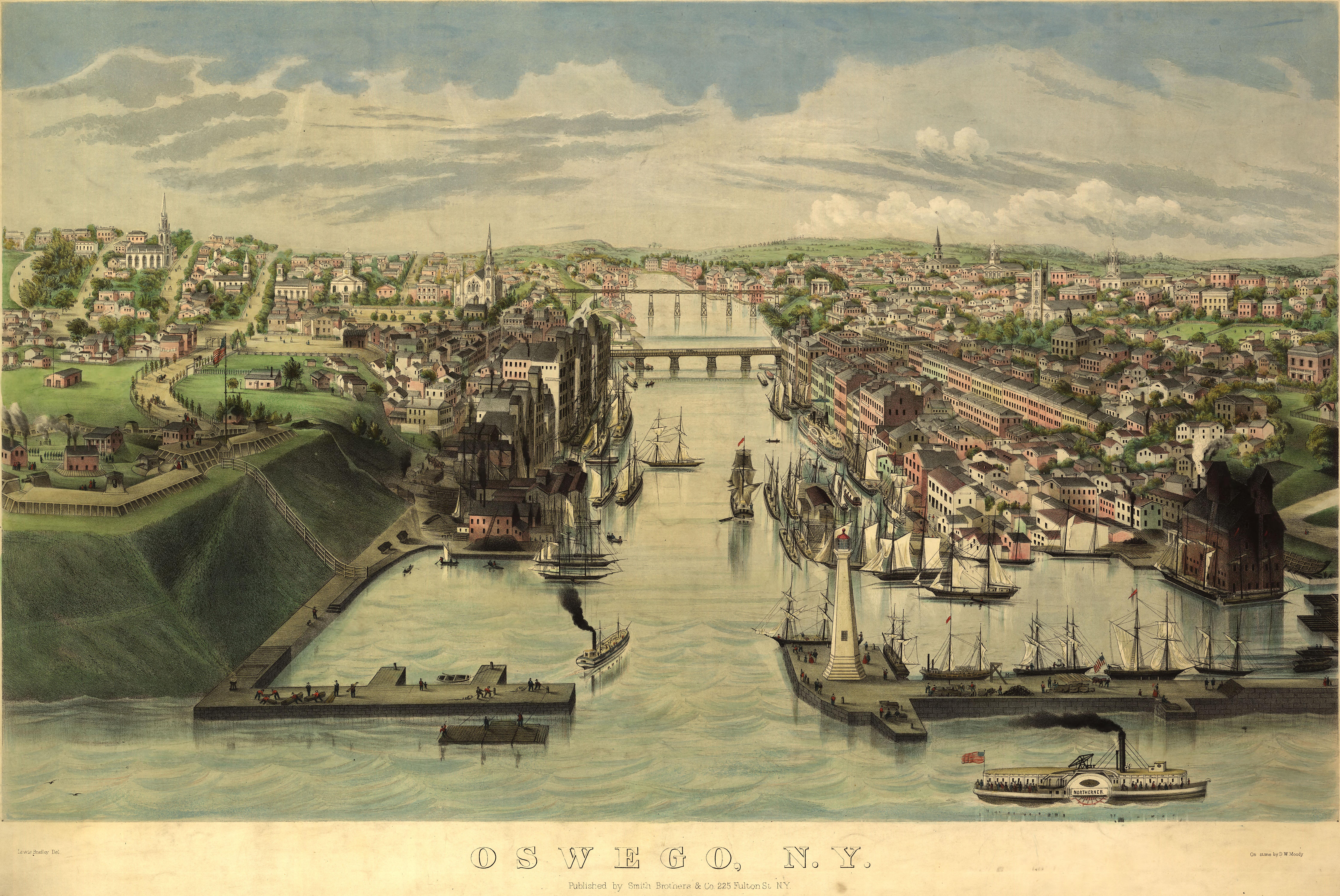 Map Of New York Oswego.Moody S Birdseye Map Of Oswego New York 1855