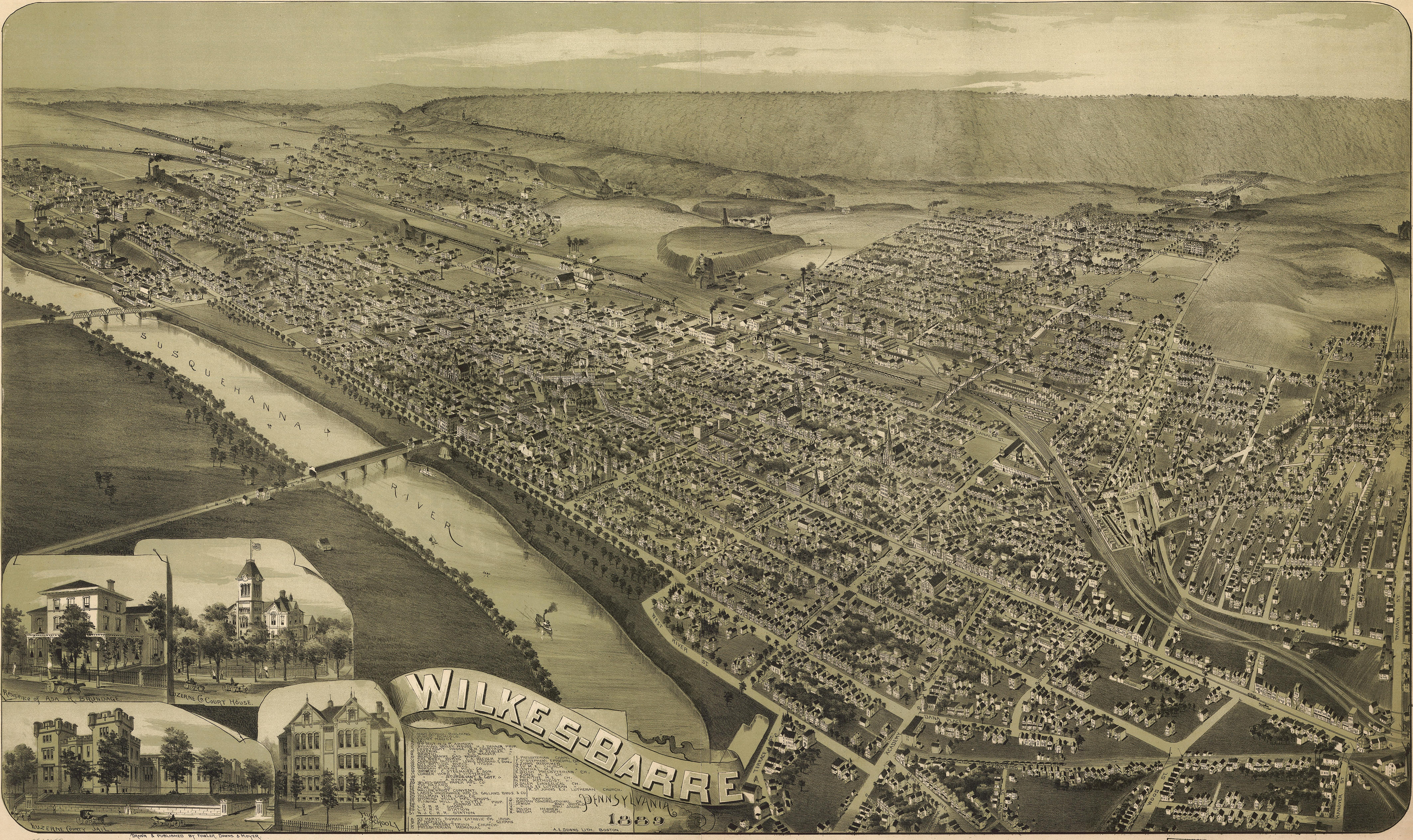 Birdseye view of WilkesBarre Pennsylvania 1889