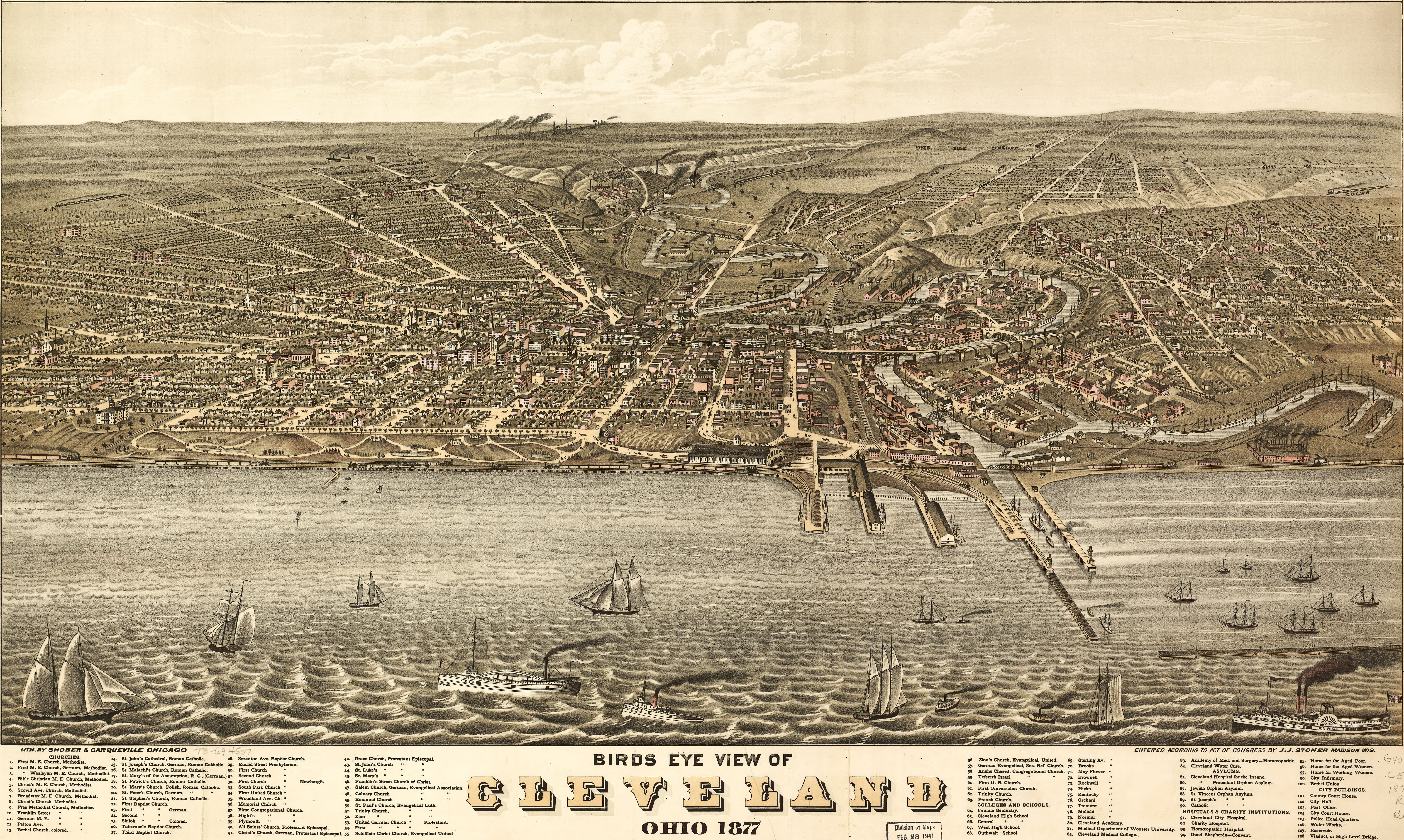 Ruger\'s Birdseye view of Cleveland (1877)