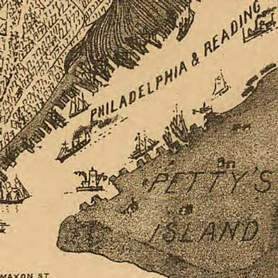 Birdseye view of Philadelphia showing Phil. and Reading R.R. image detail