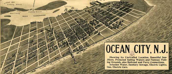 Birdseye Map of Ocean City, New Jersey image