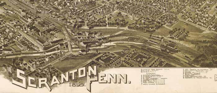 Birdseye Map of Scranton Pennsylvania 1890