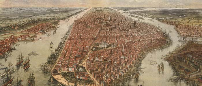 Birdseye View of New York and Environs – Bachmann image