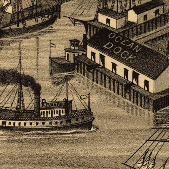 Birdseye view of Seattle – 1884 image detail