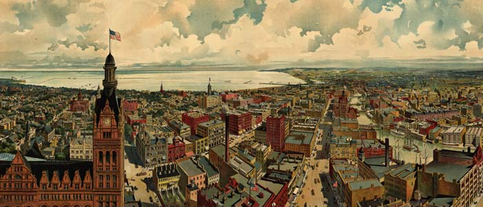 Birdseye view of Milwaukee  1879 image