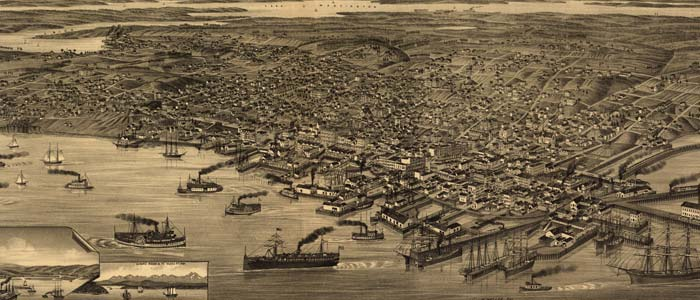 Birdseye view of Seattle – 1884 image