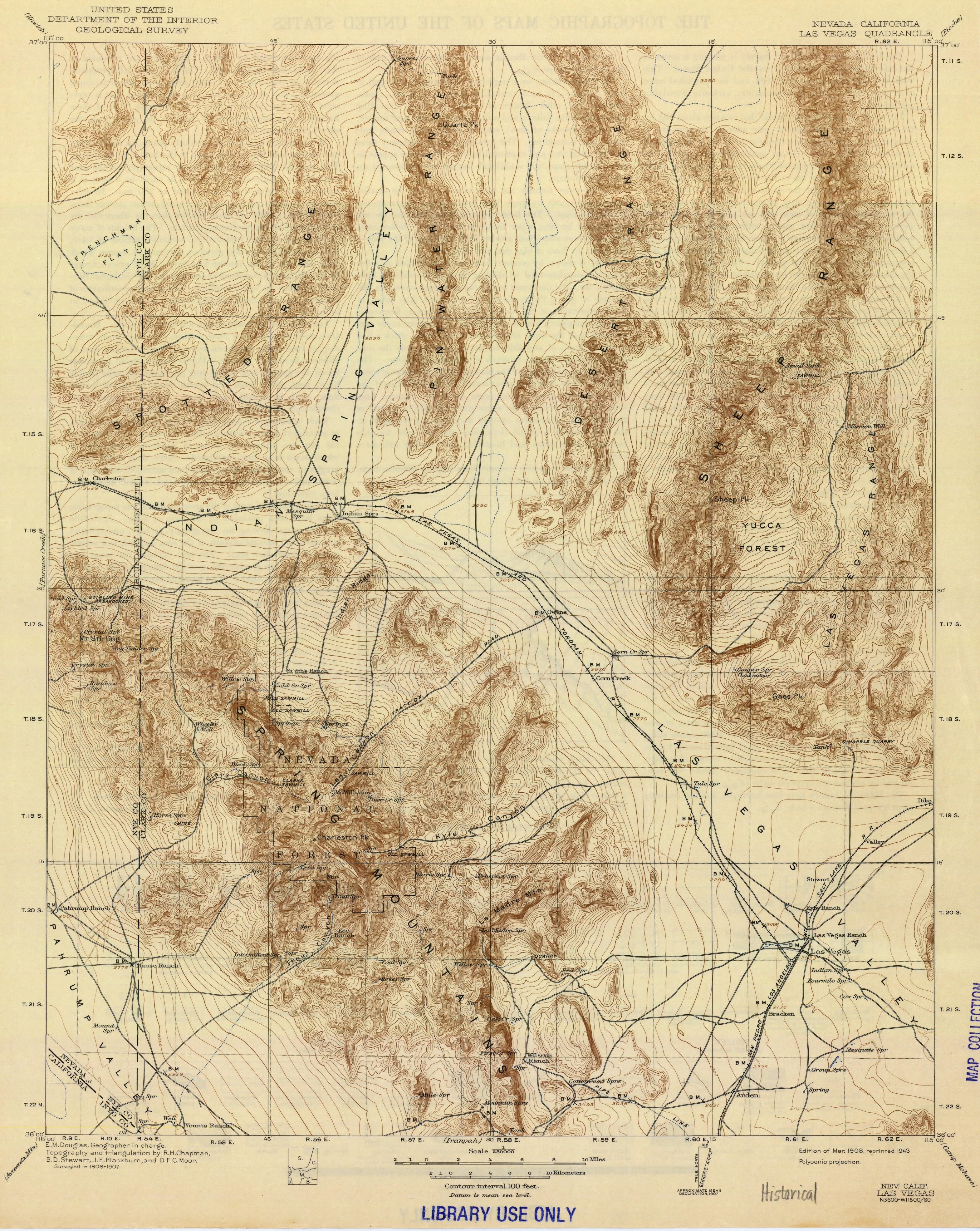 USGS Topo of Las Vegas, Nevada (1908)
