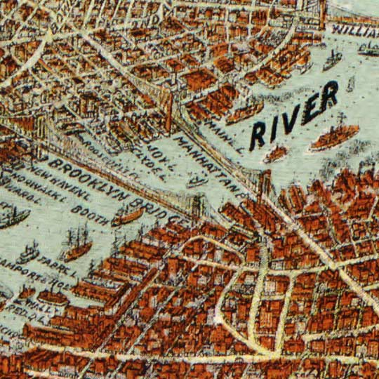 Birdseye map of New York City by United States Printing & Lithograph Co. - 1912 image detail