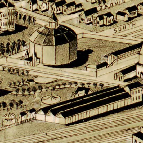 Birdseye map of Fort Worth by Wellge – 1891 image detail
