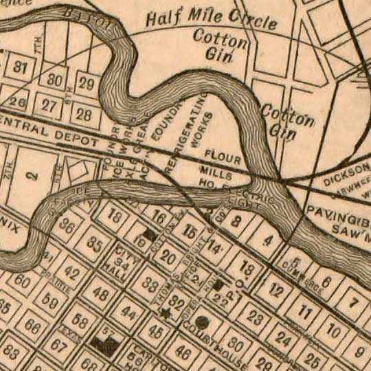 Map of Houston by Wm. M. Thomas & Co. in 1890 image detail
