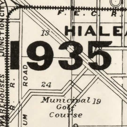 Map of Miami by Douglass in 1925 image detail