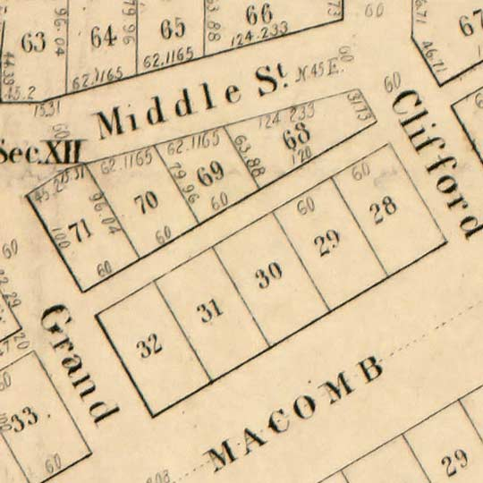 Street map of Detroit by Farmer – 1835 image detail