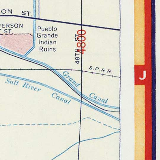 Street map of Phoenix by Shell Oil Company – 1956 image detail