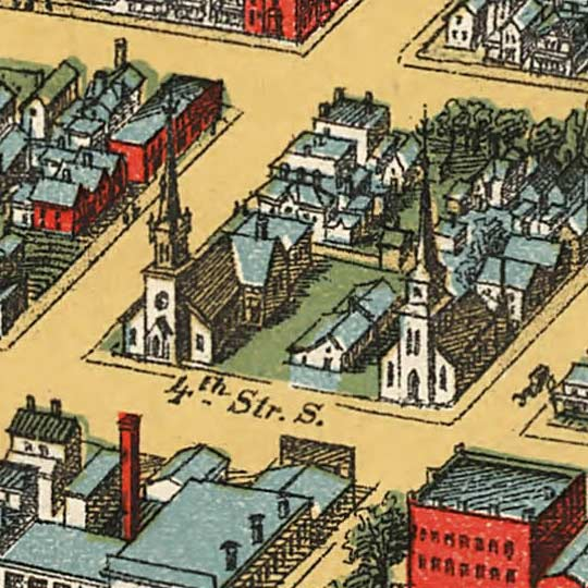 Birdseye map of Minneapolis by Smith in 1891 image detail