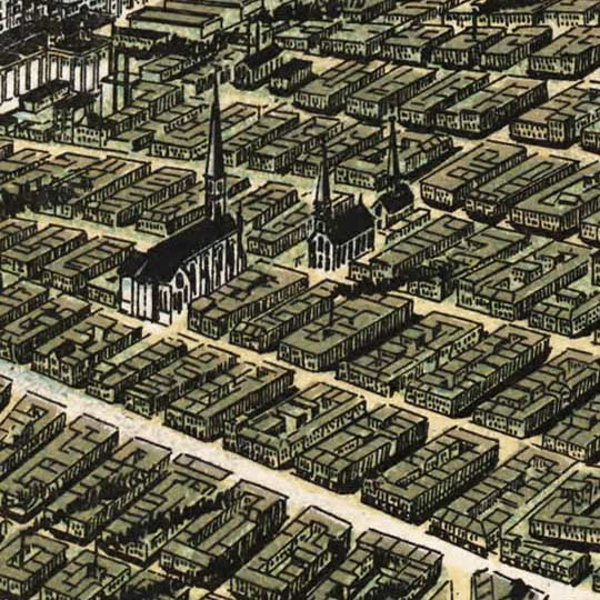 Birdseye map of St. Louis by Graf – 1896 image detail