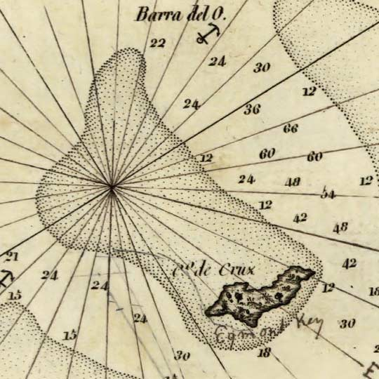 Bathymetric map of Tampa Bay by Spain Directorate of Hydrography in 1809 image detail