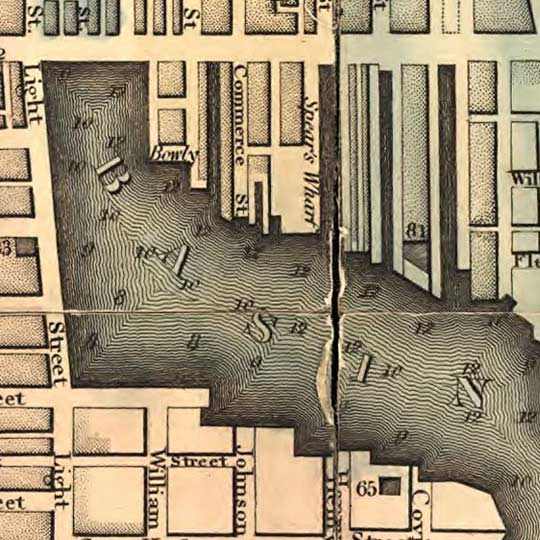 Plan of the city of Baltimore by Lucas in 1827 image detail