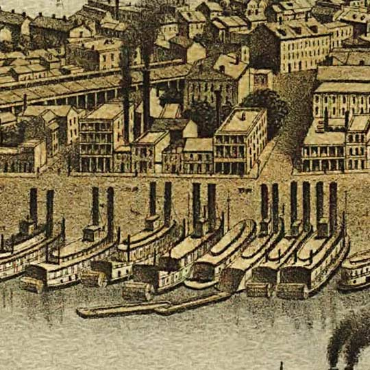 Birdseye map of Pittsburgh by Krens in 1874 image detail