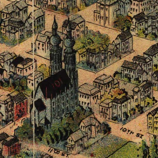 Birdseye map of Portland by Wood in 1890 image detail