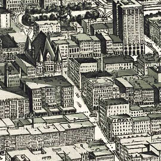 Birdseye map of Cincinnati by Henderson in 1900 image detail