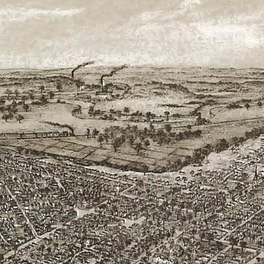 Birdseye map of Cleveland by Vogt in 1887 image detail